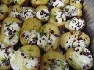 Baked Mini Potatoes with Marscapone, Proscuitto and Chives