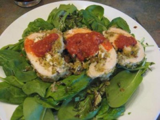 Chicken Roulade with Procuitto, Spinach, and Sun-dried Tomatoes