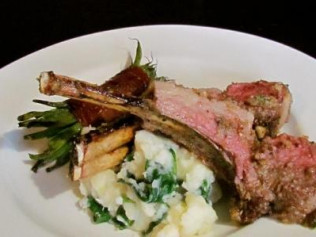 Grilled Lamb Chops with Garlic, Olive Oil, Thyme, and Grilled Lemons