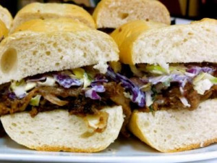 Memphis Style BBQ Sandwich with Blue Cheese Slaw